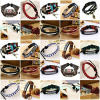 Men Women Braided Handmade Bracelet Leather Wrap Punk Cuff Bangle Wristband Gift