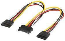 15 Pin Sata Male to 2 Sata Female Power Splitter Y Cable 20cm uk stock uk seller