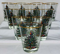 """10 Libbey Spode CHRISTMAS TREE *4 1/2"""" DOUBLE OLD FASHIONEDS*GOLD RIM*"""