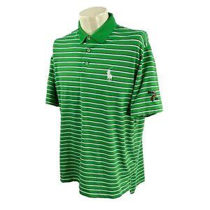 Polo Golf Ralph Lauren Men's Otter Creek AJGA Logos Green Stripe Shirt Large