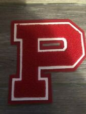"Neff Varsity Letter P School Letterman Red Chenille Patch on white, 6"" New"
