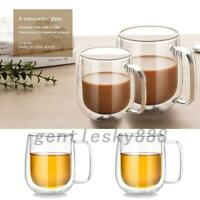 250ml Large Coffee Milk Water Mugs Double Wall Glass Tea Cup Heat Resistance