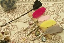 Steampunk Goth Quill BIRO pens vintage nibs & cameo charms Wedding Pen Free P&P
