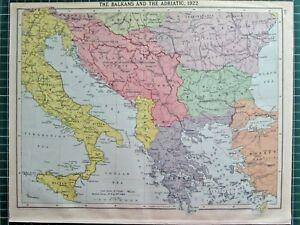 HISTORICAL MAP ~ THE BALKANS & THE ADRIATIC 1922 YUGOSLAVIA GREECE BULGARIA