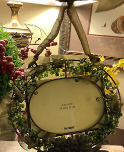 """Pier 1 Imports~Oval Green Beaded Metal Frame~w/Gold Ribbon~4""""x 6""""~FREE SHIP~Love"""