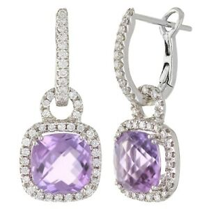 14k White Gold 0.55ctw Amethyst & Diamond Huggie Hoop Dangle Earrings
