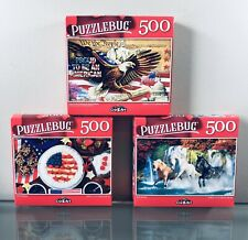 Lot of 3 Puzzlebug Jigsaw Puzzles 500 Piece Puzzle  American Patriots