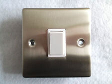 SINGLE BRUSHED CHROME/STAINLESS STEEL SWITCH WITH GASKET + INSTRUCTIONS 1 OR 2w