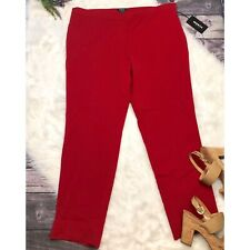 Worth New York Red Crepe Wool Trousers NEW Size 16 Tapered Ankle Cut