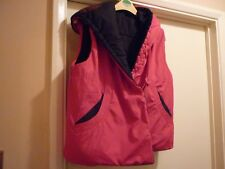 Reversible gilet/jacket Medium unique black and a red side, hooded, very warm