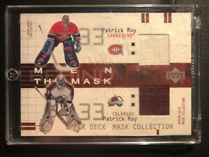 2001-02 Patrick Roy, Upper Deck, Men Behind the Mask Dual Jersey Card