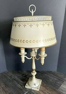 "Vtg Tole Gold Cream Beige Florentine Metal Bouillotte 3 Candlestick Lamp 27"" T"