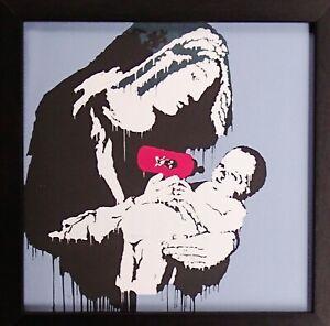 Banksy Art Print on Canvas in Frame no glass Madonna + Child Maternal Scene