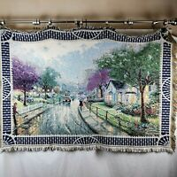 Thomas Kinkade Tapestry Blanket Neighborhood Rain Scene Wall Hanging Throw USA