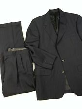 Oxxford Clothes Suit 39R Charcoal+Red Pinstripe Pleated 32W Pants