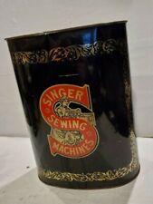 Vintage Singer Sewing Machine Cheinco Usa Tin Trash Can/wastebasket Advertising