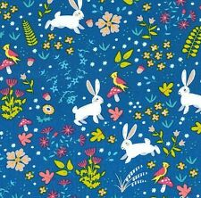 Your Are Magical - Bunny Rabbit Fantasy - Dk Blue,100% cotton fabric