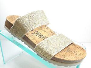 Birki's By Birkenstock Gold Elastic Straps Slides Sandals Women's Size 5