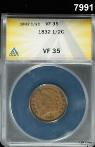 1832 HALF CENT ANACS CERTIFIED VF35! MINTAGE 51,000! #7991