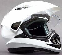 Dual Sport Motorcycle Motocross MX ATV Dirt Bike Full Face Helmet Gloss White