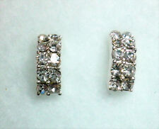 Clear Crystal Faceted Stud Earrings 10mm x 4mm