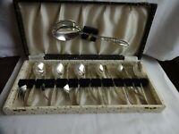 Vintage Silver Plated EPNS Dessert Forks & Spoons + Server, Cased 1950`s