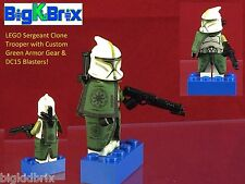 LEGO Star Wars CLONE SERGEANT with GREEN Armor Gear, Holster, & 2 DC15 Blasters!