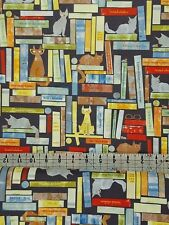 CATS BOOKS QUILTING FABRIC  5 FOR 4  WINDHAM SMARTY CATS    FAT QUARTER £2.99