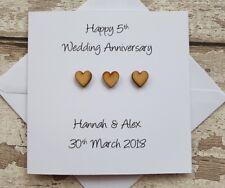 Personalised 5th Wedding Anniversary card handmade for Wood anniversary