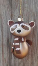 Silver Tree Raccoon With Felt Tail and Scarf Glass Christmas Ornament