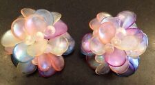 Massive Plastic 3D Rainbow Mid Century Mod Clip On Earrings 2.25""