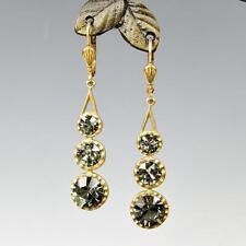 La Vie Parisienne Catherine Popesco 3 Crystals Linear Earrings in Black Diamond