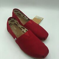 TOMS Red Canvas Women's Classics Slip-ons Flats Casual Shoes Red Size US W9