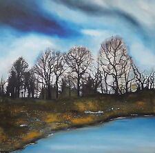 """Nuevo Isabelle amante Original """"maderas oscuras en un día"""" Bosque árbol De Pintura Azul"""