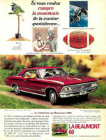 1966 GENERAL MOTORS BEAUMONT CUSTOM SPORT COUPE RED AUTO. ORIGINAL AD IN FRENCH