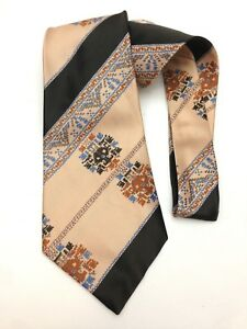 "Mens Vintage Kipper Necktie 4.8"" Wide Neck Tie Salmon Black Stripe Peach Kitsch"