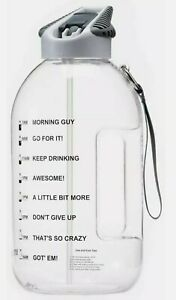 Water Bottle with Straw & Handle 1 Gallon 3.5 Litre BPA-Free Time Marker Tracker