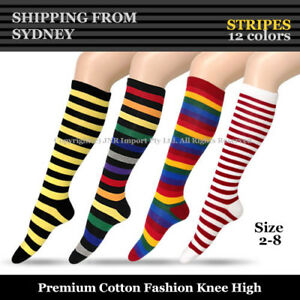 Premium Cotton Stripe Knee High Socks - Girls Ladies Cheerleader Womens Size 2-8