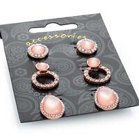 Three Pair of Rose Gold Crystal Pink Opal Effect Stud Earrings Ladies Jewellery
