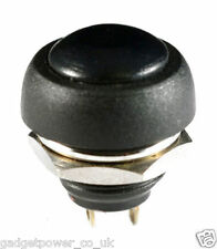 BLACK WATERPROOF PUSH SWITCH - BUTTON - NORMALLY OPEN - SPST - FOR 13MM HOLE