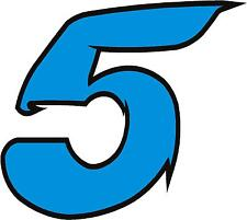 """x1 1"""" Race Number vinyl stickers (MORE in EBAY SHOP) Style 2 Number 5 Lblue/Blck"""