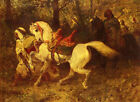 Oil painting male portrait Arabs with horses - On The March free shipping canvas
