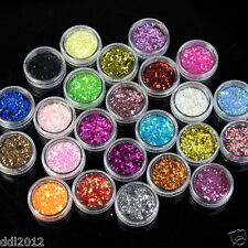 24 Pots Spangle Glitter Nail Art Tips Paillette Acrylic UV Powder Polish Decor