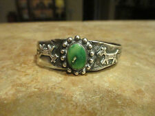 OLD Fred Harvey NAVAJO Sterling Silver CARICO LAKE Turquoise HORSE DOG Bracelet
