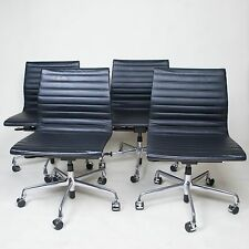 Pneumatic Black Eames Herman Miller Low Back Aluminum Group Chairs 4 Available