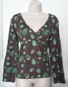 Brown & green circular patterned tunic long sleeves Mistral 100% cotton-Size 14