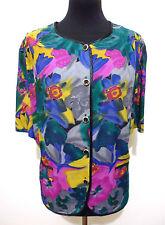 CULT VINTAGE '80 Camicia Donna Viscosa Flower Woman Rayon Shirt Sz.L - 46