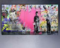 "Mr Brainwash Print on Canvas Banksy Graffiti art decor Charlie Chaplin 24x48"""