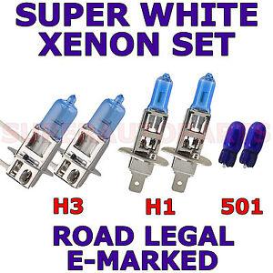 VOLVO XC70 ESTATE HID 2007+ SET OF 2X H1 H3 501 HALOGEN SUPER WHITE LIGHT BULBS