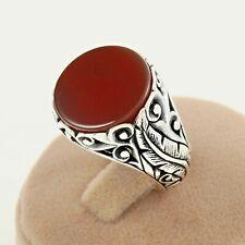Handmade Silver Red Onyx Men's Ring Oriental Design Free Resizing